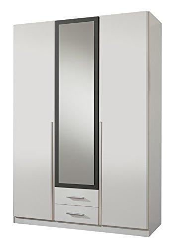 Wimex Kleiderschrank/ Drehtürenschrank Skate, 3 Türen, 2 Schubladen, 1 Spiegel, (B/H/T) 135 x 197 x 58 cm, Weiß/ Absetzung Anthrazit -