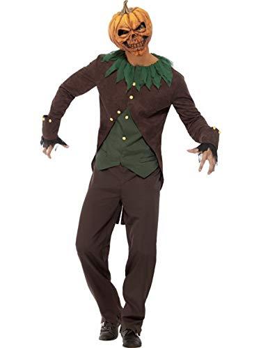 erdbeerclown - Herren Männer Kostüm böser Kürbis, im Vogelscheuche Stil mit Jacke Weste Hose und Maske, Creepy Pumkin, perfekt für Halloween Karneval und Fasching, M, Schwarz