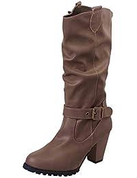 TUDUZ Winter Damen Schuhe Leder High Heel Stiefel Outdoor Gürtelschnalle Casual Stiefeletten