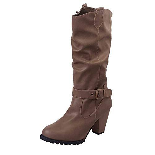 MOIKA Damen Boots Winter Damenschuhe Leder High Heel Stiefel Outdoor Gürtelschnalle Casual Stiefel(240/39,Braun)