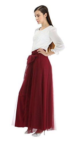Honeystore Damen's Vintage Rock Top-Modell Unterrock/Sommer-Rock elastische Taille Lang Rock Geeingnet für Damen & Mädchen Weinrot One Size