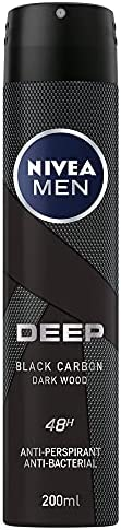 NIVEA Men Deep Black Carbon Dark Wood, Antiperspirant & Antibacterial Spray -2
