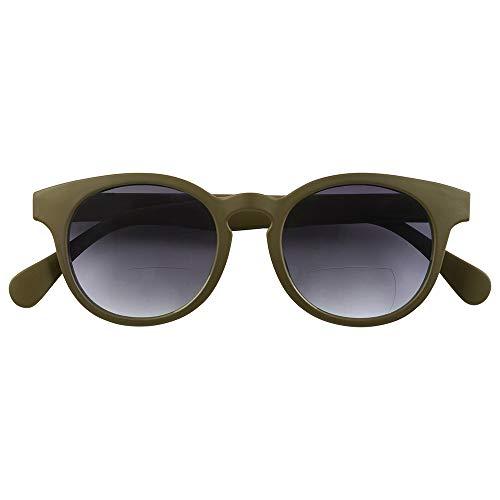 Babsee Bifokale Sonnenbrille für Damen und Herren Modell Piet Grün +1.0 | Es ist fast keine Linie sichtbar Bifokale Sonnenbrille mit UV-Schutz Braun mattiert | Flexible Scharnierlinsenbreite