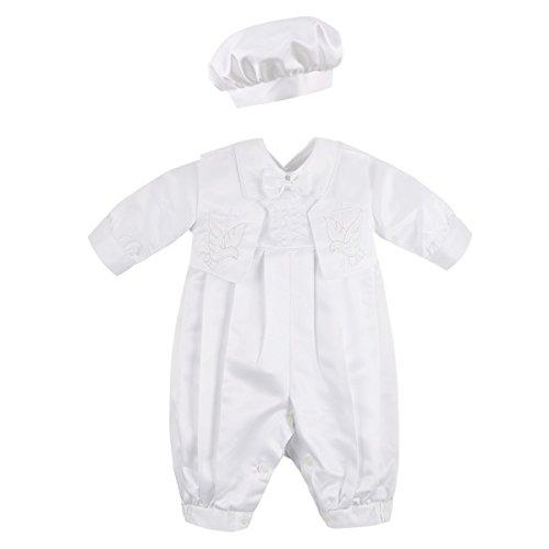 704b9811364706 Agoky Unisex Baby Taufbekleidung 3pcs Bekleidungsset Jungen Taufanzug  Festlich Mädchen Taufkleid Weiss Baumwolle Langarm Taufe Hochzeit  Geburtstag Namentag ...