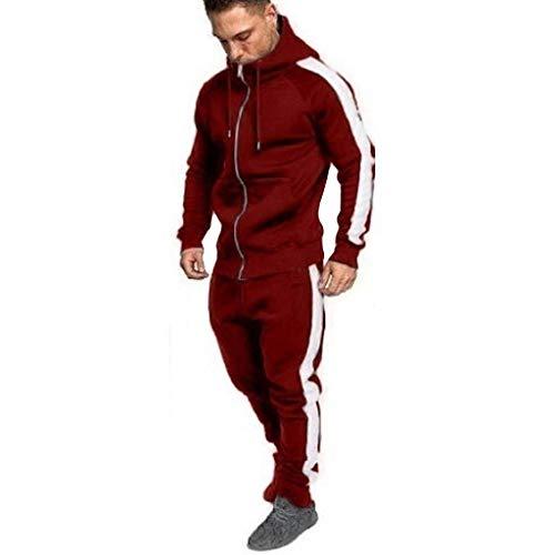 Zolimx Herren Herbst Winter Zipper Print Sweatshirt Top Hose Sets Sport Anzug Trainingsanzug (Rot, L) Bayern Tee-set