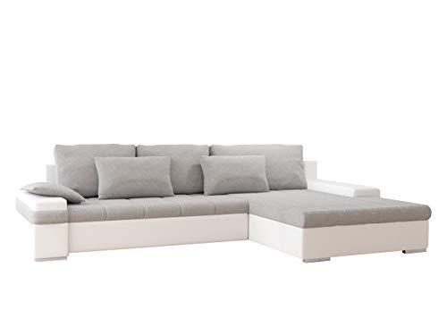 Mirjan24 Ecksofa, Kunstleder/feiner Webstoff, Soft 017/Bristol 2460, 310 x 175 x 83 cm -