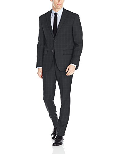 DKNY Herren Dominic Slim Fit Single Breast 2 Button Suit Businessanzughosen-Set, Deep Charcoal, 48 Kurz -