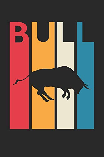 Vintage Bull Notebook - Gift for Animal Lover - Colorful Bull Diary - Retro Bull Journal: Medium College-Ruled Diary, 110 page, Lined, 6x9 (15.2 x 22.9 cm) - Vintage Bull