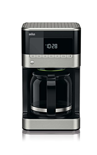 Braun KF 7120Cafetera eléctrica semi-automática con jarra de cristal, 1000 W, 12 tazas, acero inoxidable, negro
