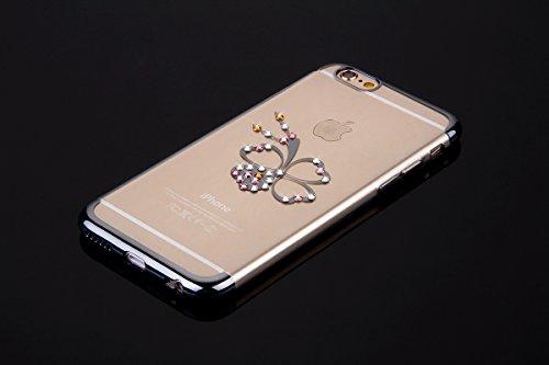 Custodia iPhone 6, iPhone 6S Cover Silicone, SainCat Cover per iPhone 6/6S Custodia Silicone Morbido, Custodia Bling Glitter Strass Diamante Silicone 3D Design Ultra Slim Silicone Case Ultra Sottile M Trifoglio #3
