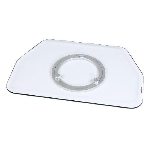 TV-Drehteller (für Fernseher und Monitore bis 60 kg, drehbar um 360°, 60 x 40 cm, Sicherheitsglas) transparent