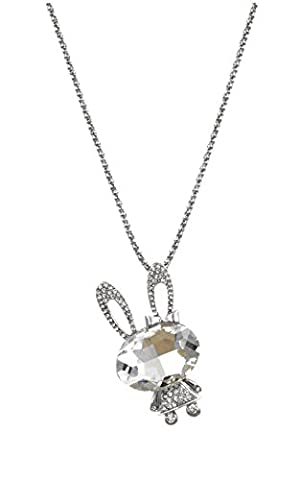 Totoroforet Silver Plated Rabbit Crystal Rhinestone Fashion Jewelry Necklace