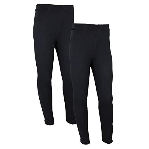 TupTam Mädchen Lange Leggings Unifarbe 2er Pack, Farbe: Schwarz, Größe: 158