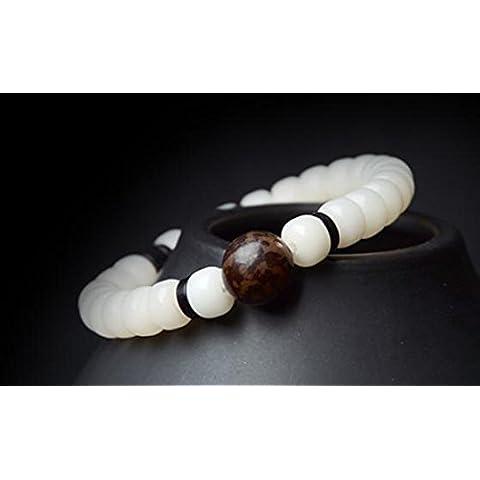 SUYA Granos de barril de Bodhi de hecho a mano, pulido a mano 6 * 8mm blanco con una sola rugulosa Bodhi, pulseras sola vuelta simple, clásico retro estilo chino, regalo creativo , 15cm