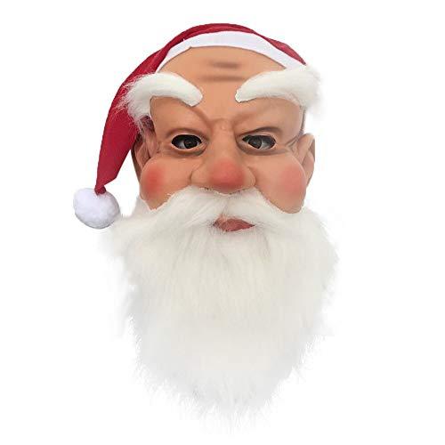 99native Unisex Weihnachtsmann-Gesichtsmaske mit roter Mütze und Bart, Weihnachtsmann Maske Haar Cosplay Weihnachtsverkleidung/ -kostüm für Party Maske Latex Mask Vollmaske (Weiß)