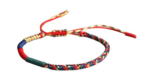 Damen Baumwolle Ziehen (⭐️ Lucky Buddhist Glücks-Armband aus Tibetisch-Buddhistischen Handgemachten Baumwolle Seilknoten. Viele Farben! ❤️ (Mehrfarbig))