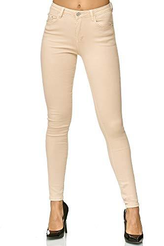 Elara Damen Stretch Hose | Skinny Röhrenjeans | Elastischer Bund | Slim Fit | Chunkyrayan E665-11 Beige 42 Damen-elf