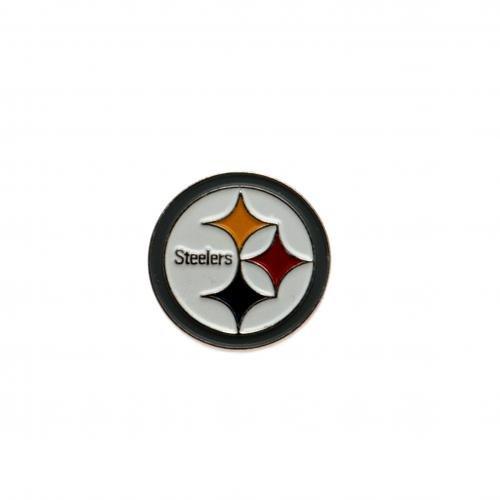 Pittsburgh Steelers badge- badge- aus Metall, Emaille-finish, Ohrstecker fix- Maße: ca. 20 x 20 mm, auf einer Unterlage card- Offizielles Fußball-Merchandising-Produkt
