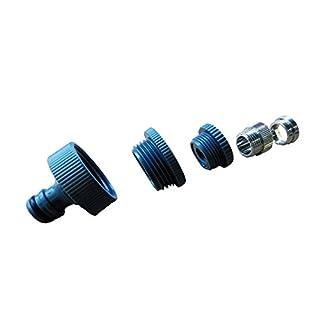 Wasserhahn-Adapter 5-fach mit Metall-Feingewinde (M 22x1 Innen-, M 24x1 Außengewinde) inkl. stabilem REHAU-Adapter mit Kunststoff-Grobgewinde 1 Zoll, 3/4 Zoll 1/2 Zoll AG, Gardena kompatibel