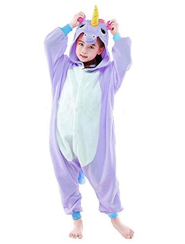 Ohren Und Pferd Kostüm Schwanz - Live It Style It Einhorn-Strampler Kinder Pjs Mädchen Nachtwäsche Jungen Pyjamas Cosplay Kostüm (2-3 Jahre, Lila)
