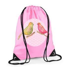 Girls Swim Bag, Pink Gym Bag, Girls PE bag, Vintage Bird Bag