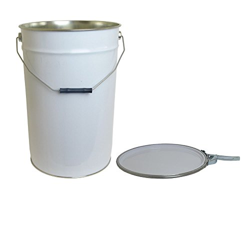 25 Litre Ltr L Tinplate Metal Bucket with Lid and Ring Latch UN Approved for Storage DIY Building Laboratory Garden Test