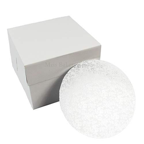 Miss Bakery\'s House® Cake Box mit MDF Board - 20x20x15 cm - Weiß - Tortenunterlage
