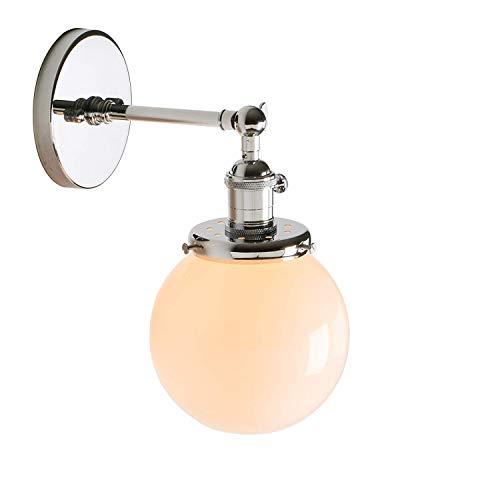 Chrom Wand Globus (1949shop Industrielle Vintage Moderne Loft Bar Wandleuchte Lichter Indoor Veranda Wand Beleuchtung Lampe Leuchte mit Globus weißes Glas Lampenschirm (Chrom))