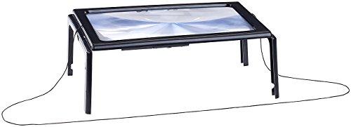 AGT Lupe: XXL-Leselupe mit 3-facher Vergrößerung, 4 LEDs und Klappständer (Standlupe)
