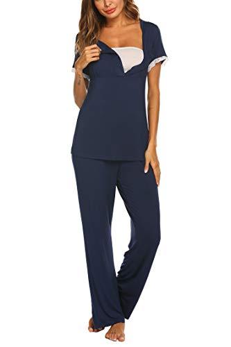 MAXMODA Damen Stillpyjama Umstandspyjama Umstands Schlafanzug Baumwolle Kurzarm Nachtwäsche für Schwangerschaft und Stillzeit