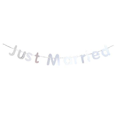(cupcinu Just Married Wimpelkette Banner Pennant Flagge Banner Girlande für Party Hochzeit Vorschlag Hochzeit Verlobungsring Datum Valentinstag decortation (rot) silber)