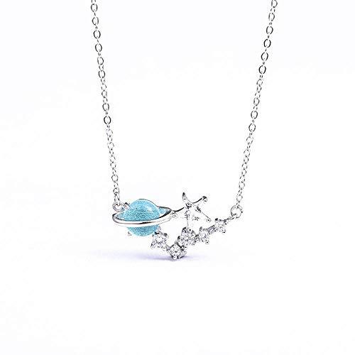 ChuangYing 925 Sterling Silber kleine Blaue Glas frischen Planeten Halskette Sterne Schlüsselbein Kette