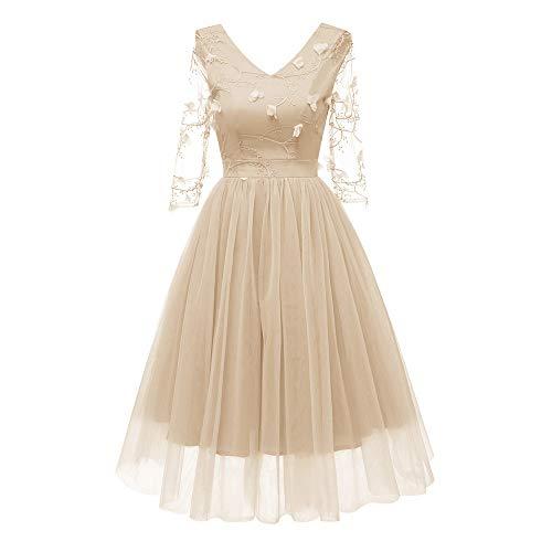 MIRRAY Damen Vintage Prinzessin Blumenspitze Chiffon Cocktail V-Ausschnitt Party Aline Swing Kleid (Kleinkind Couture Kleider)