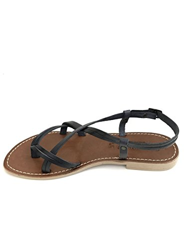 Sandali ifradito 205 in pelle cuoio nero taco basso zeta shoes MainApps Nero
