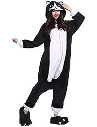 DarkCom Tier Kostüm für Erwachsene Unisex-Modell Einteiler Jumpsuit ideal Pyjama oder Cosplay Verkleidung