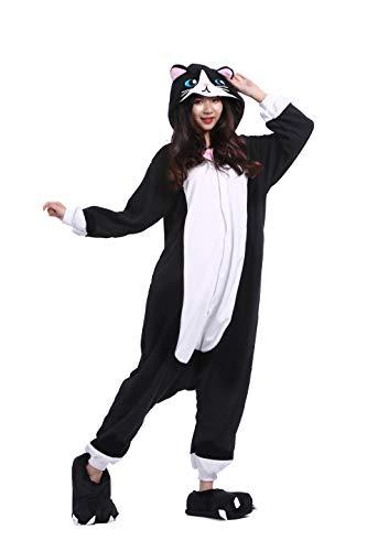 DarkCom Onesies Adulti Donne Pigiama Soffice Tutina Kigurumi Costume di Halloween Tuta (S per Altezza(141CM-155CM), Nuovo Gatto Nero)