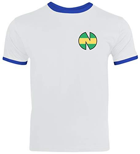 Tsubasa FC Nankatsu Trikot Kostüm Herren Ringer T-Shirt Karneval & Fasching Coole Verkleidung Weiß/Blau // M (Trikot Kostüm)