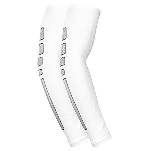 1 Paar Arm Warmers UV-Sonnenschutz Anti-Rutsch für Männer Frauen Youth für Radsport Wandern Golf Basketball Outdoor Sport Sportstulpe Weiß M