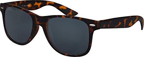 nenbrille Rubber Retro Vintage Unisex Brille mit Federscharnier - 101 verschiedene Farben/Modelle wählbar (Leo - Smoke) (Nerd Outfits Für Männer)