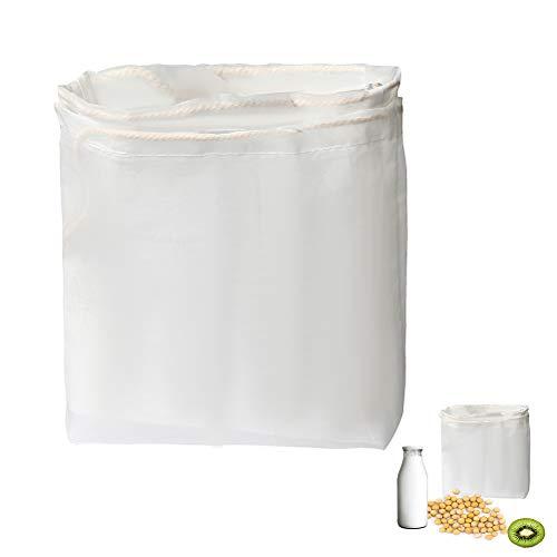 Siming 2 Packungen Nussmilchbeutel, Feinmaschiges Filtertuch/Passiertuch für Milch, Saft, Quark,Joghurt, Kaffee