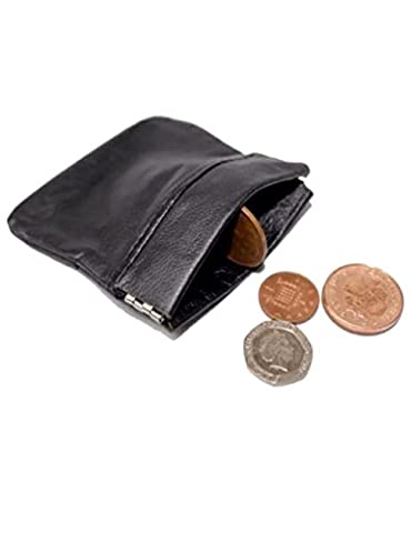 MENS LADIES BLACK REAL LEATHER COIN POUCH PURSE