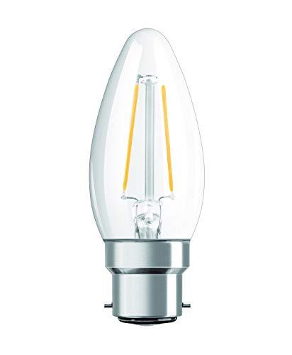 OSRAM Ampoule LED à Filament | Culot B22 | Forme Flamme | Blanc Chaud 2700K | 2,1W (équivalent 25W)