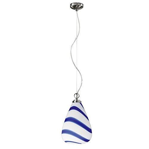 Lampenlux Hängeleuchte Thunder Murano Glas Blau Weiß Pendellampe E27 Ø24cm (Monturfarbe: Nickel gebürstet) - Murano Glas Hängeleuchte