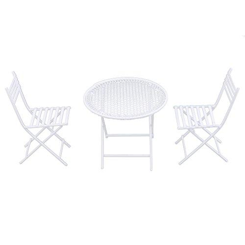 3pcs 1/12 Puppenhaus Gartenmöbel Miniatur Runde Tisch & 2 Stühle - Weiß