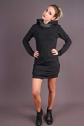 Hoodie Dress Generale Kapuzenkleid Black-Grey -