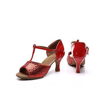Scarpe da ballo-Personalizzabile-Da donna-Balli latino-americani Salsa-Tacco cubano-Finta pelle Paillette-Rosso Argento Dorato sliver