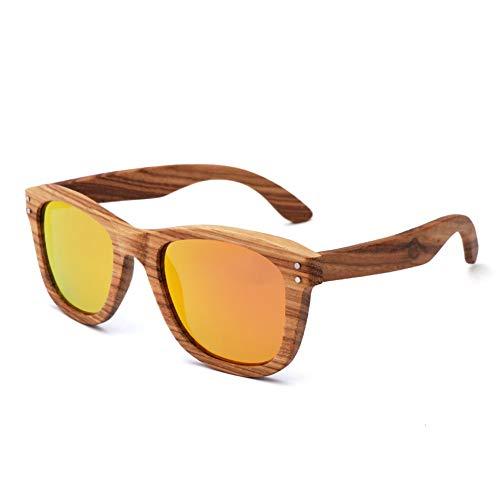 TISESIT UV400 Bambus Sonnenbrillen - Unisex Retro Holzoptik Gläser - Klassische Holzschirme Damen Herren - Brillen mit Etui,C