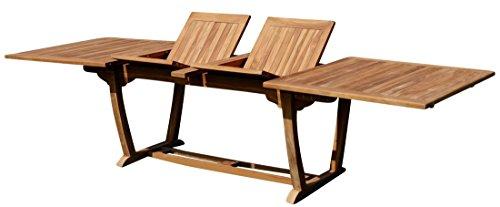echt TEAK XXL Ausziehtisch Holztisch Gartentisch Garten Tisch 200-250-300cm 2fach ausziehbar, Breite 100cm Gartenmöbel Holz sehr robust JAV-TOBAGO-300x100 von AS-S