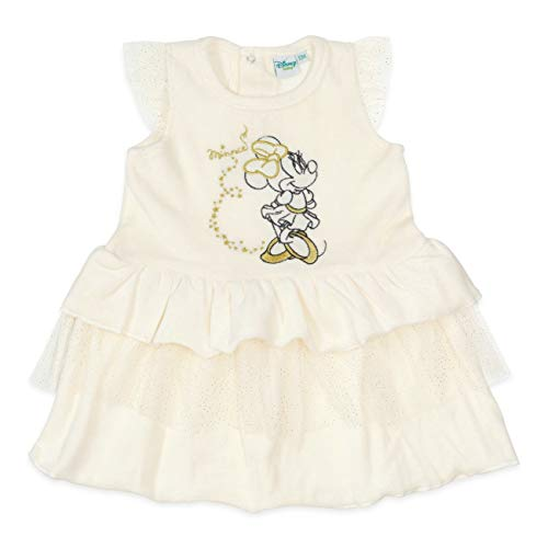 Disney Baby Kleid Mädchen beige   Motiv: Minnie Mouse   Baby Kleid mit goldenen Akzenten für Neugeborene & Kleinkinder   Größe: 9-12 Monate (80)