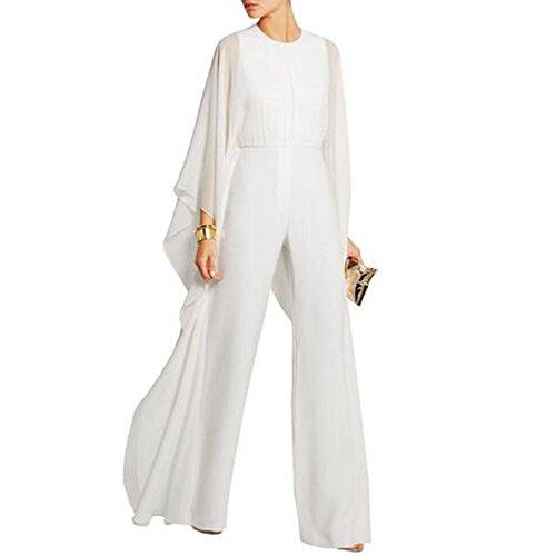 NAOMIIII Frauen Casual Swing Lange Ärmellose Rundhals Chiffon Wide Leg Hose Overall , White , Xl (High Jean Rise Leg Wide)